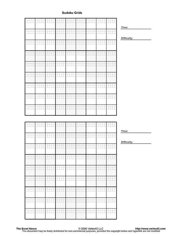 Printable Blank Sudoku Puzzles