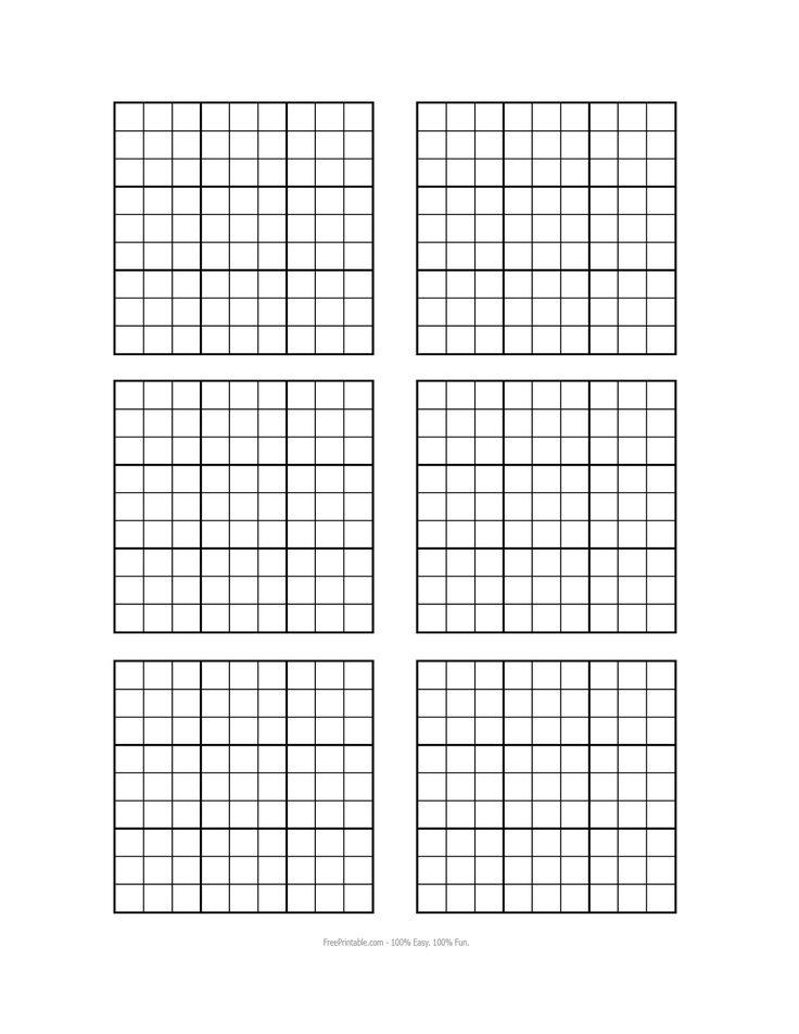 Printable Sudoku Blank Sheets