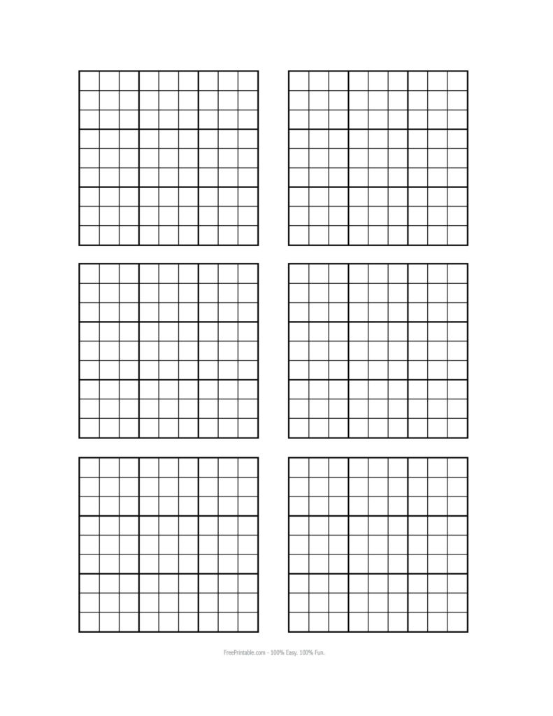 Free Printable Blank Sudoku Grids Sudoku Printable