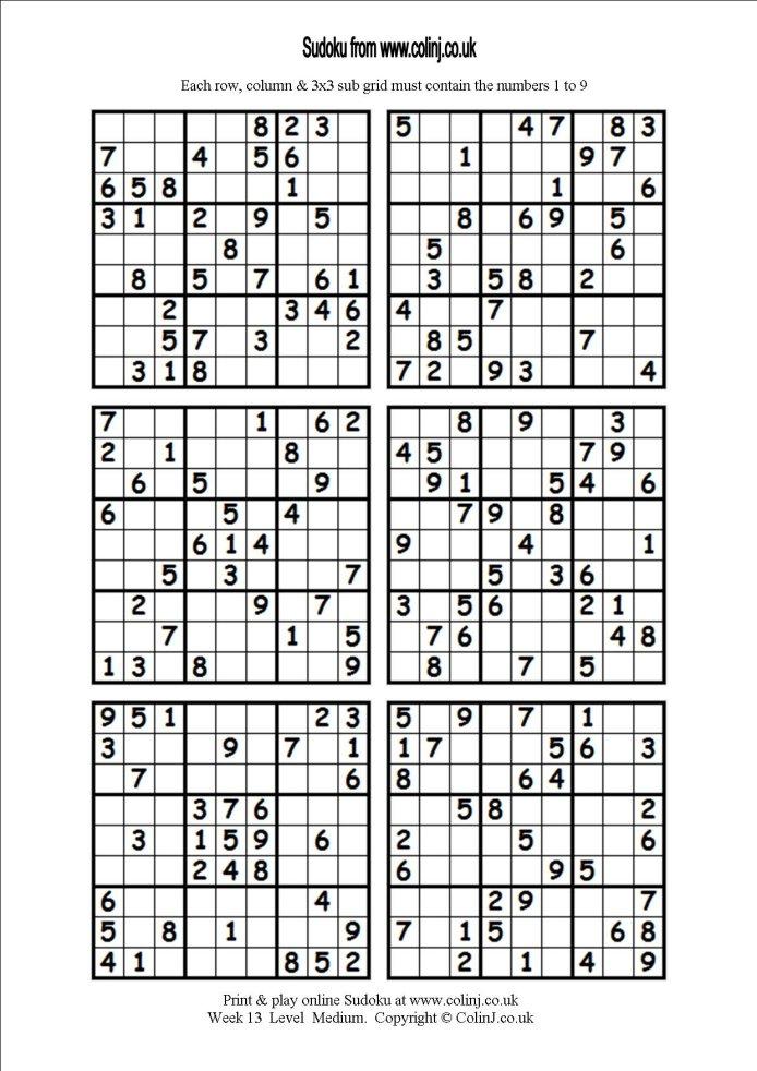Free Printable Sudoku 6 Per Page Pdf
