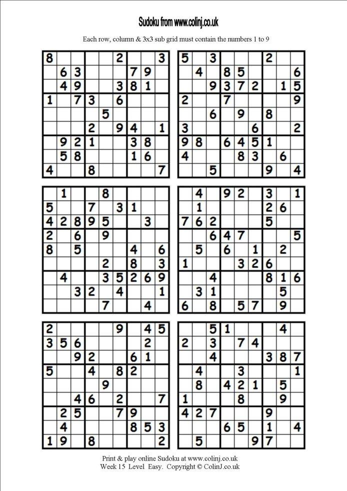 Printable Sudoku 6 Per Page Pdf