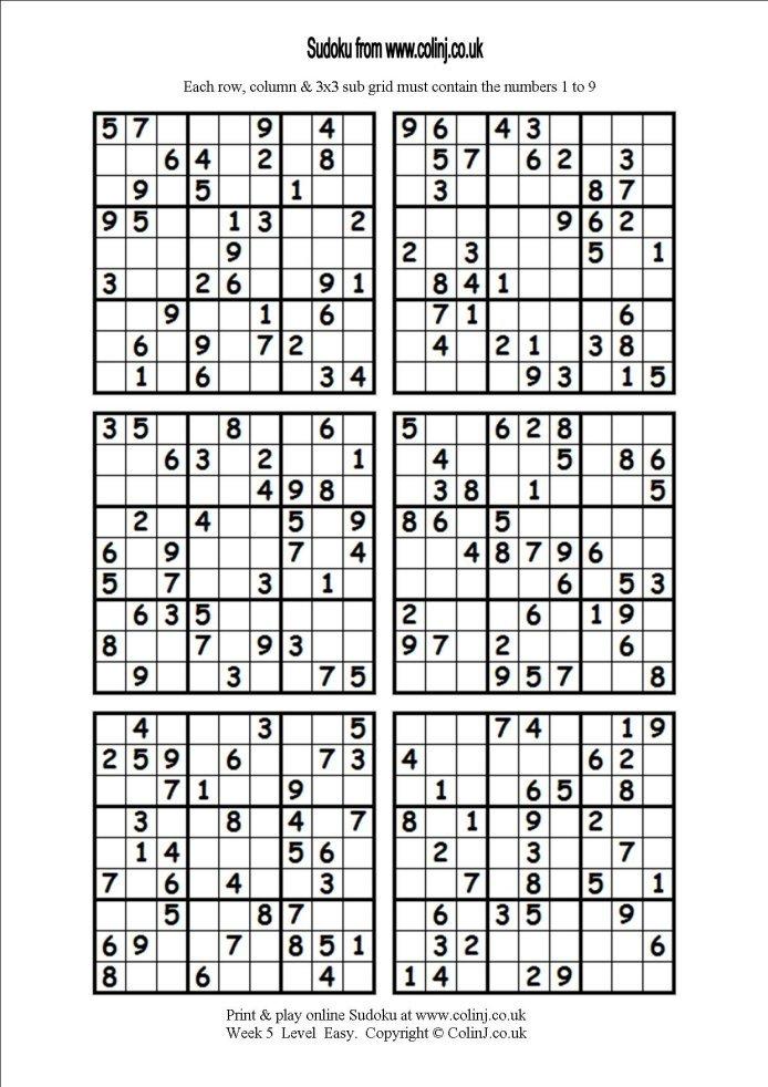 Free Printable Hard Sudoku 6 Per Page