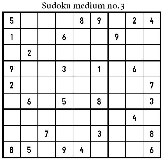 Sudoku Medium Puzzle Printable
