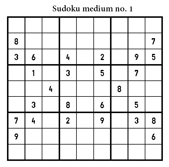 Free Printable Medium Level Sudoku