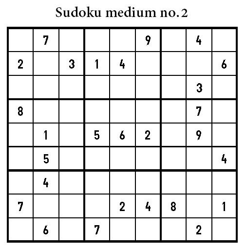 Printable Sudoku Puzzles Medium 2