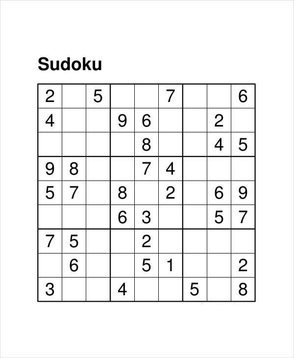 Free Printable Sudoku Puzzles Pdf
