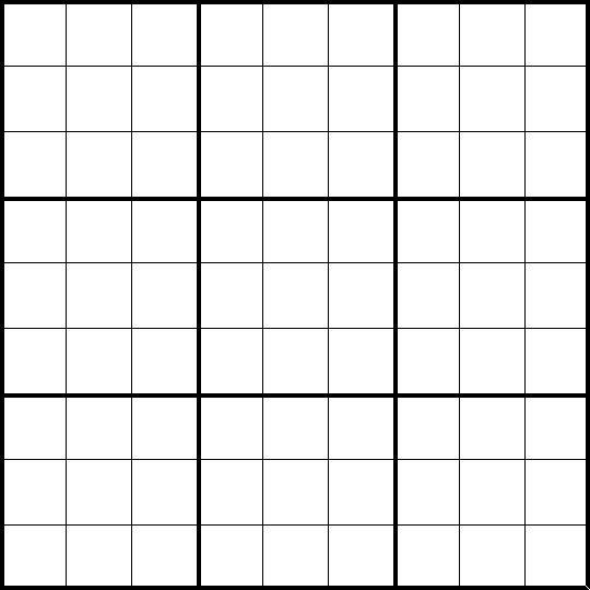 Free Blank Sudoku Printables