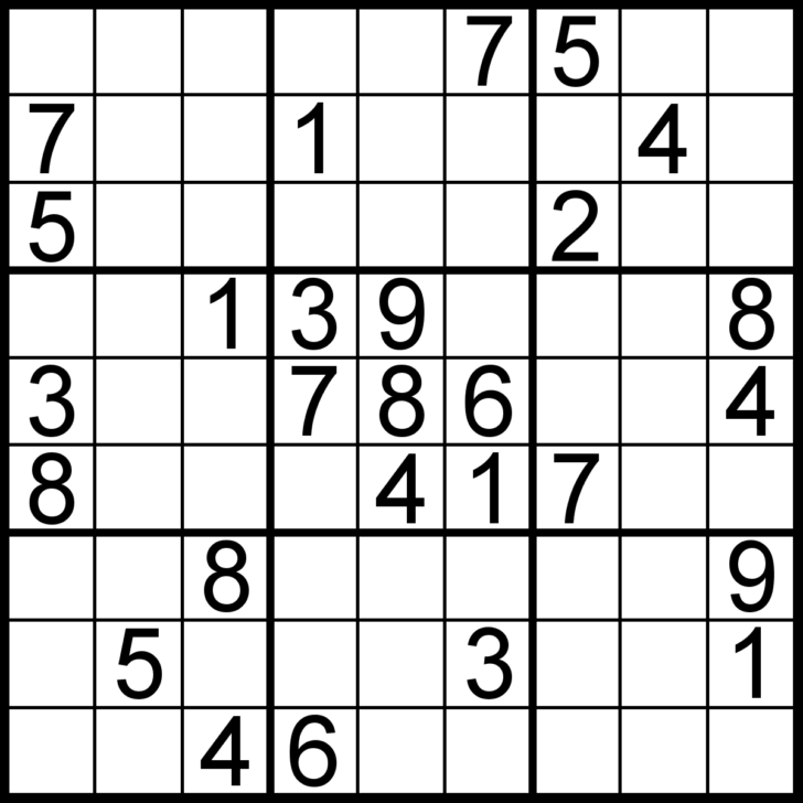 Large Printable Sudoku Puzzles