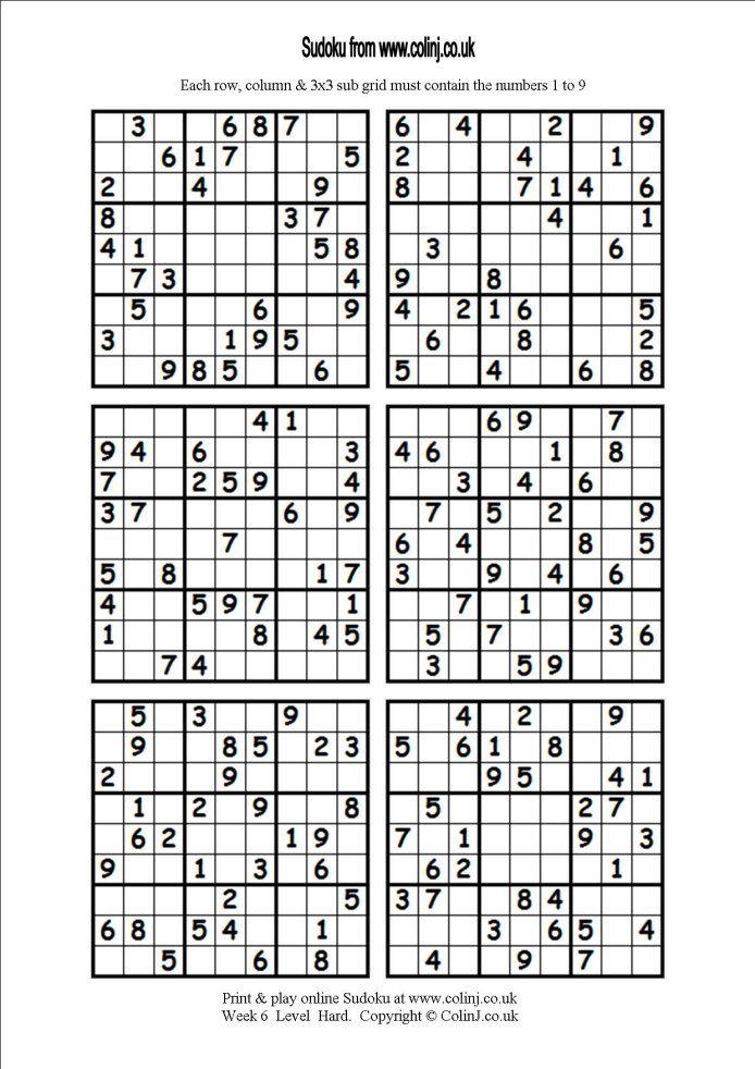 Free Printable Sudoku Pages