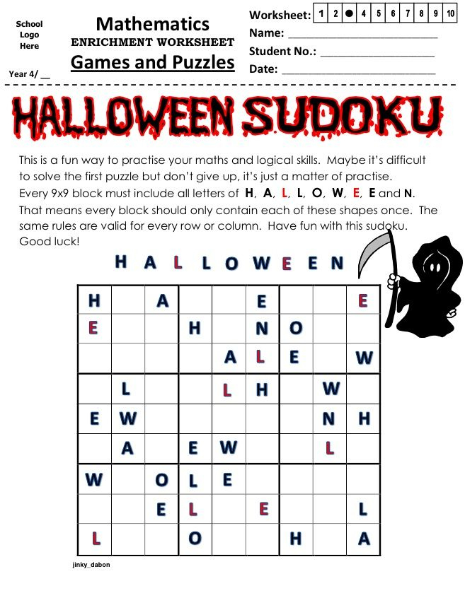 Halloween Sudoku Printable