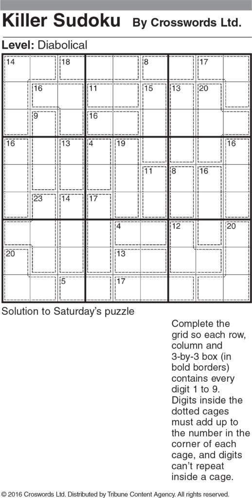 Killer Sudoku Diabolical Sample 1 Tribune Content Agency