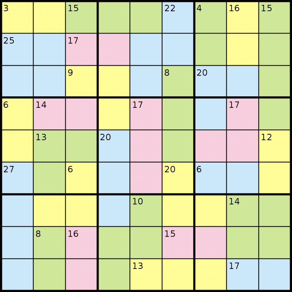 Killer Sudoku Wikipedia Printable Sum Sudoku Puzzles