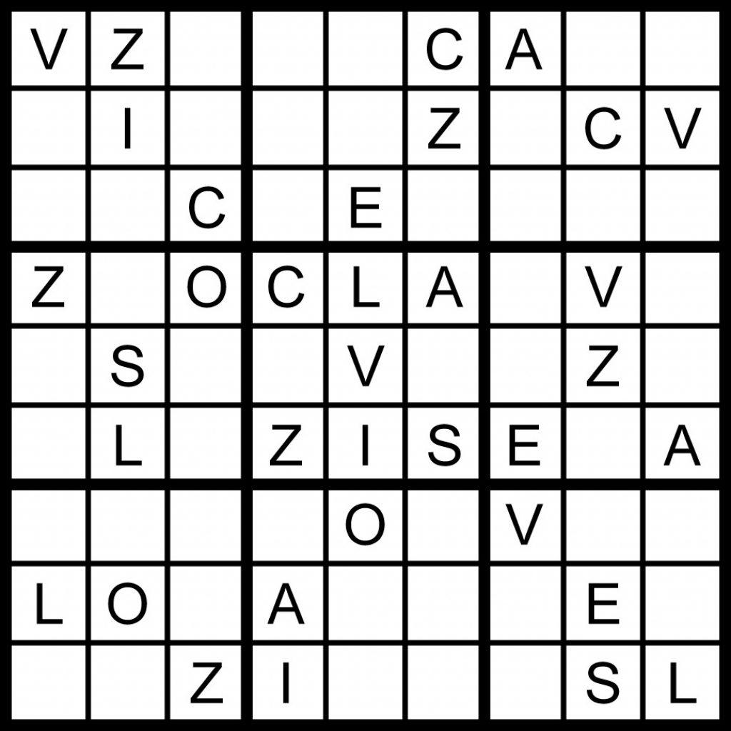 Magic Word Square March 2011 Printable Sudoku 8X8
