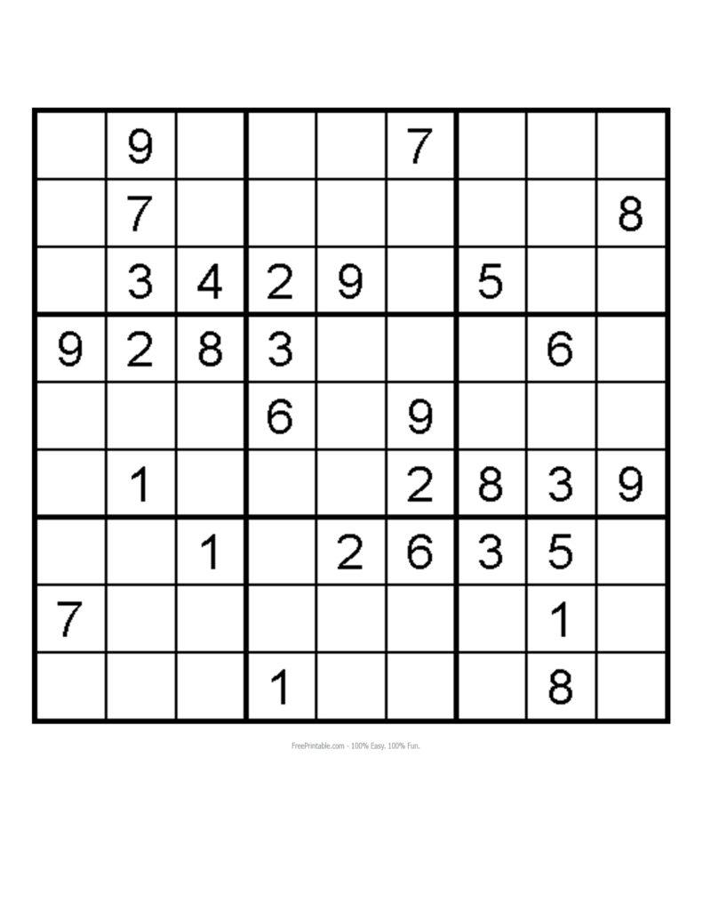 Medium Level Printable Sudoku Printable Template Free