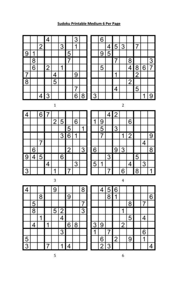 Medium Sudoku Printable Pdf Printable Template Free
