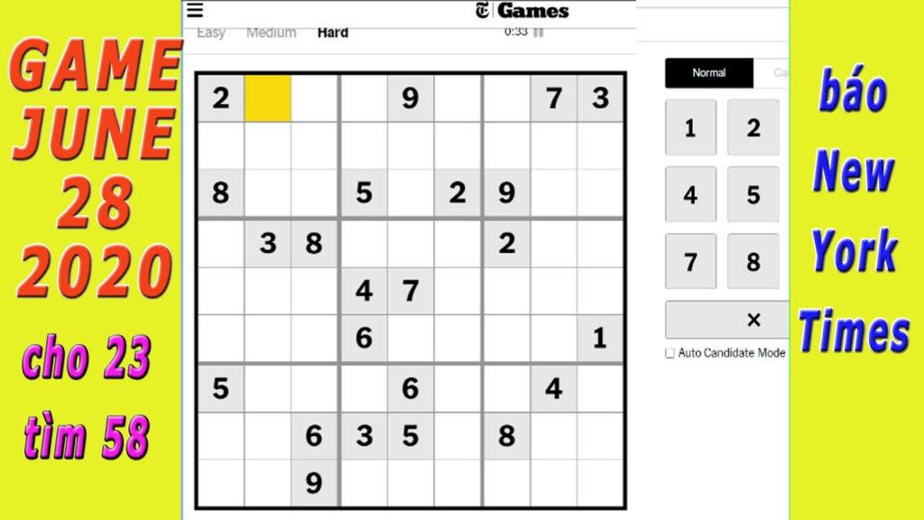 New York Times Sudoku 28 6 2020 T H P L LI U YouTube