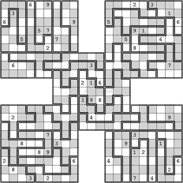 Jigsaw Samurai Sudoku Printable