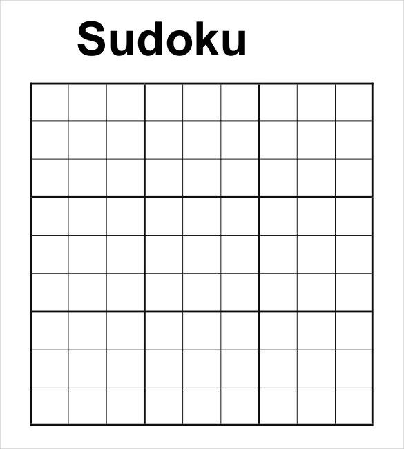 Printable Blank Sudoku Template
