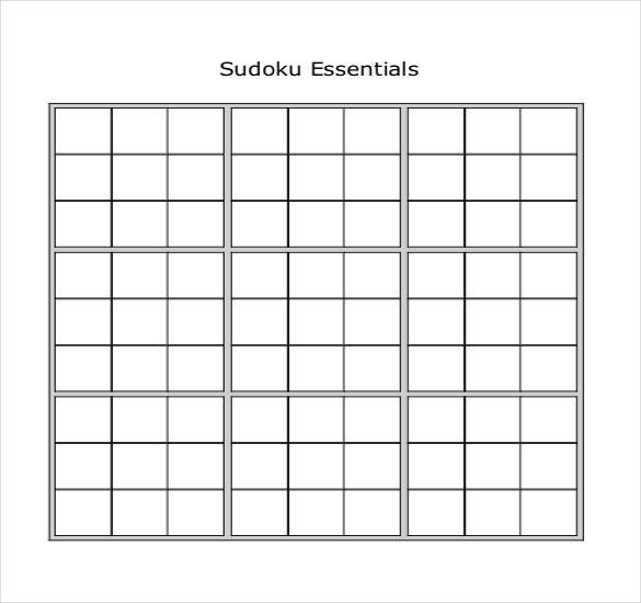 Printable Blank Sudoku Pdf
