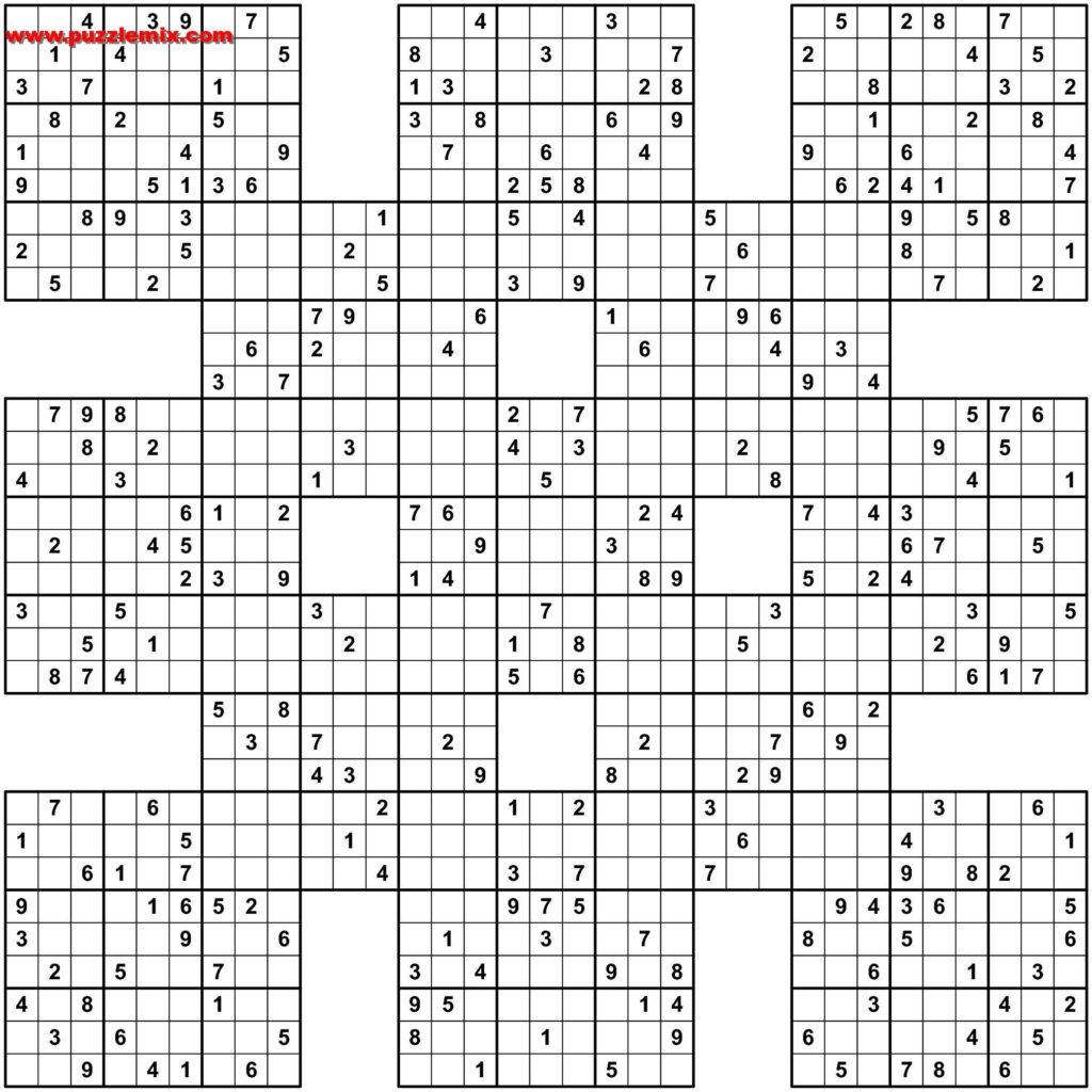Printable 13 Grid Samurai Sudoku Sudoku Printable
