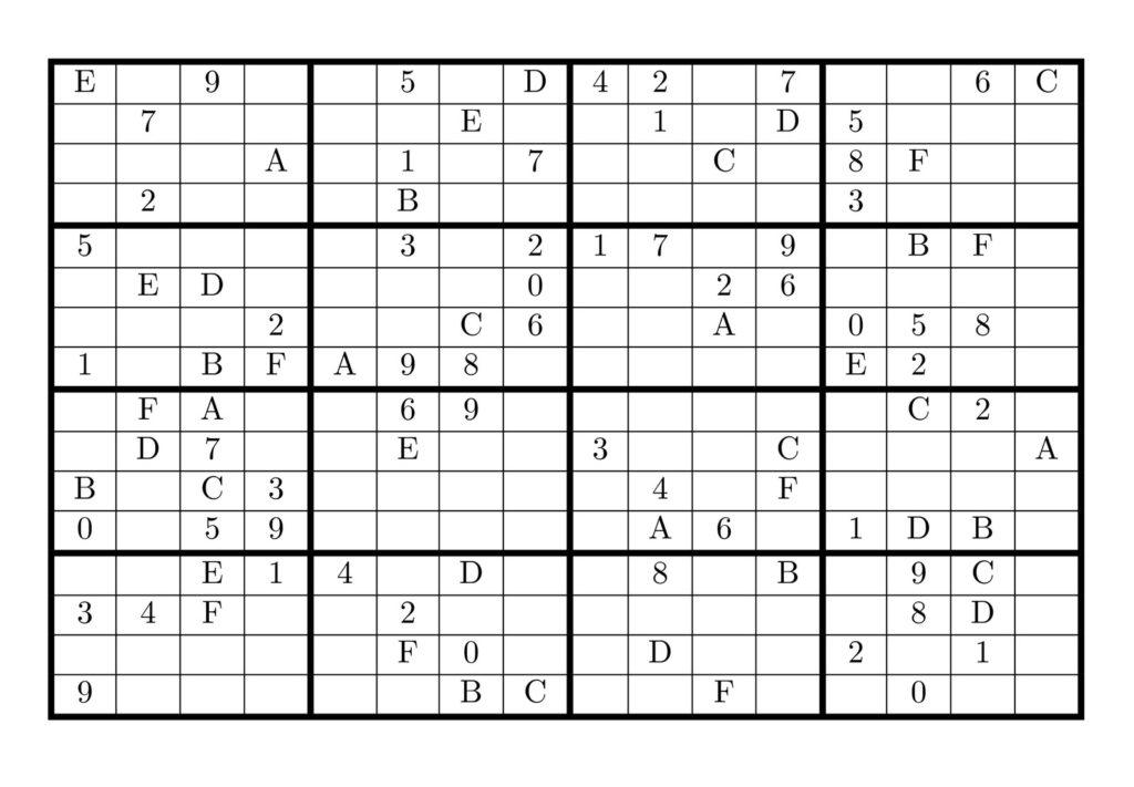Printable 16 X 16 Sudoku With Solution Sudoku Printable