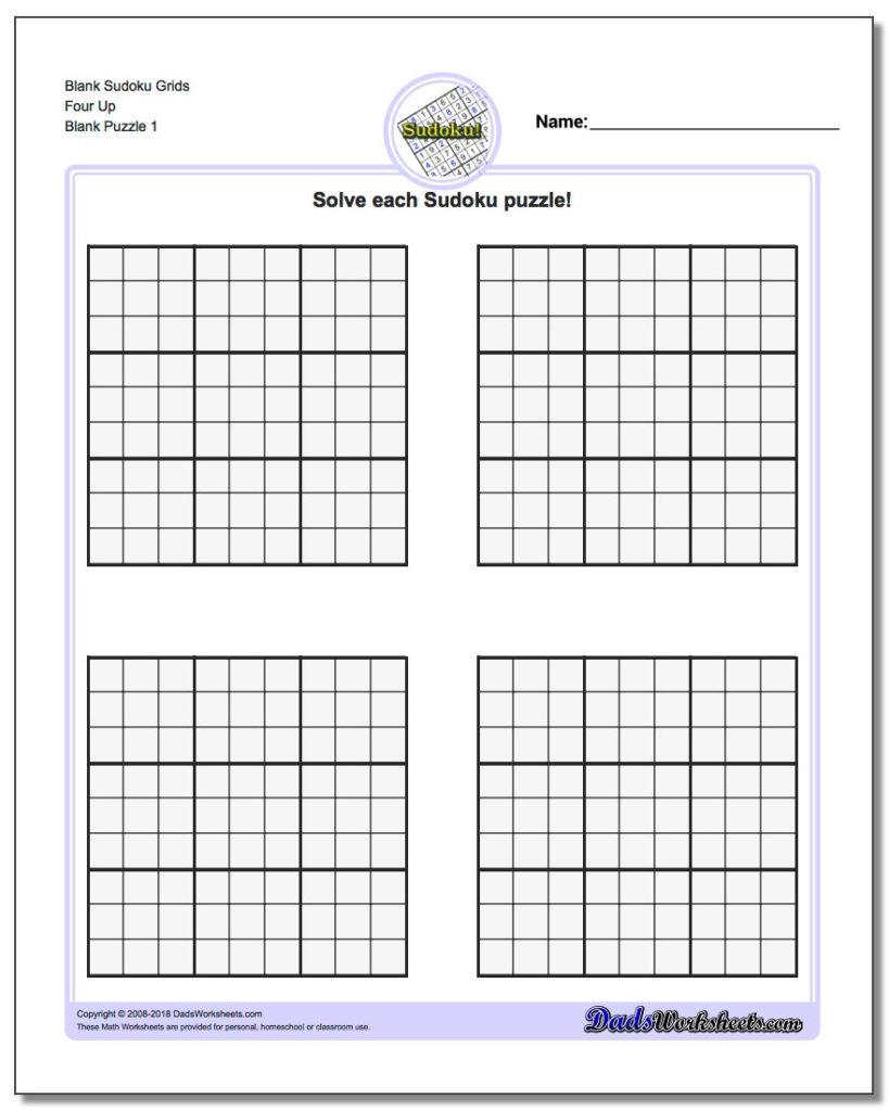 Printable Blank Sudoku Grids Shop Fresh