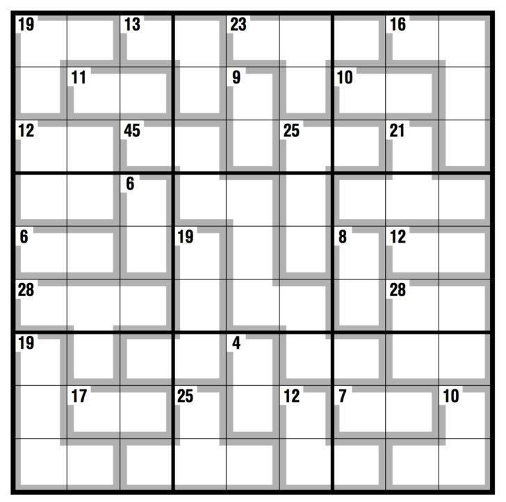 Killer Sudoku Printable Puzzles