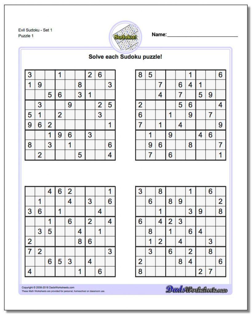 4 Square Sudoku Printable