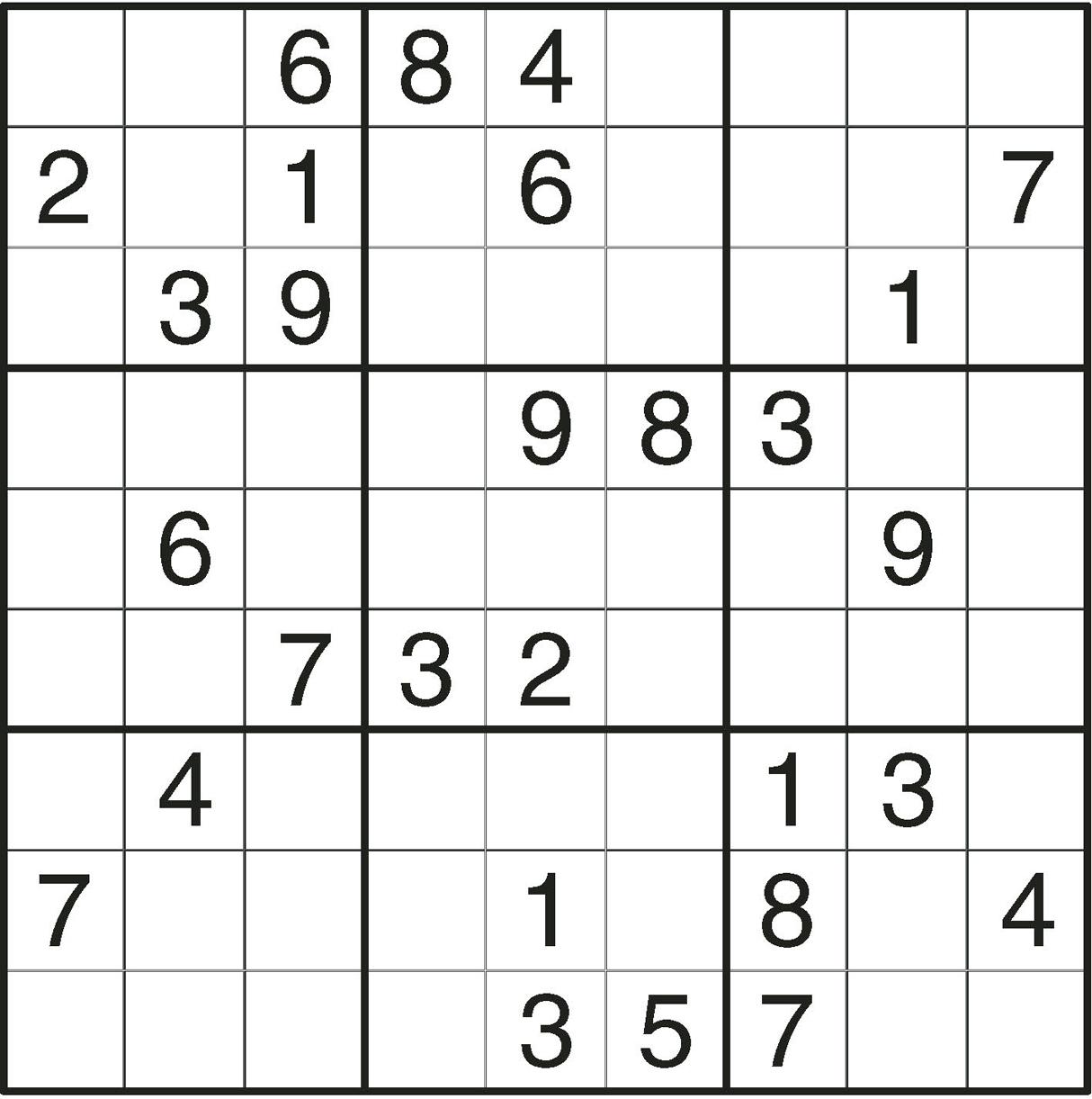 Free Printable Sudoku For Seniors