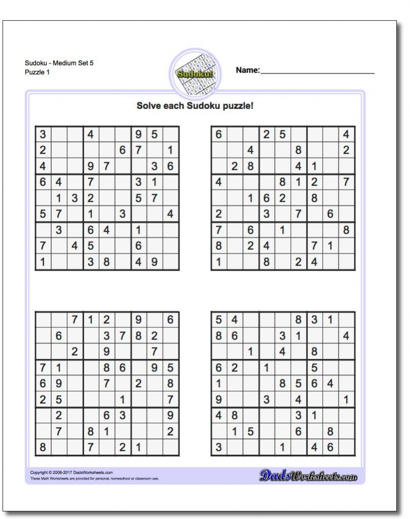 Free Printable Sudoku 4 Per Page