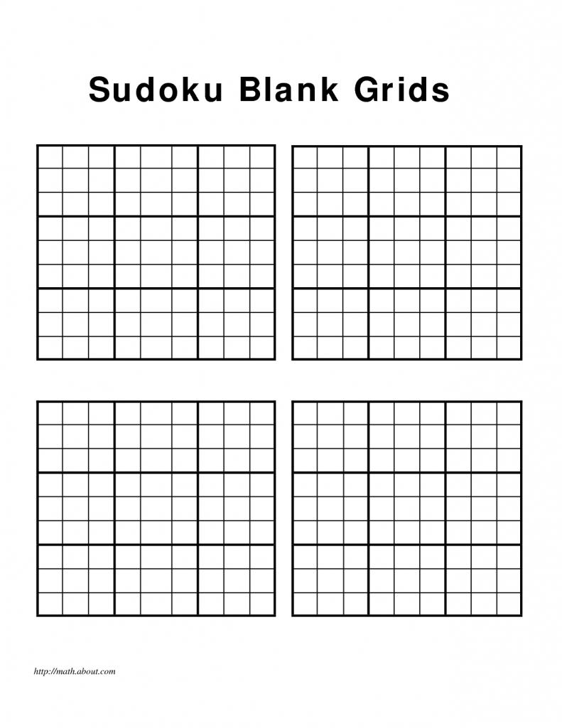 Blank Sudoku Grid 4 Per Page Printable