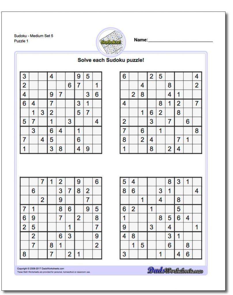 Sudoku Medium Printable 4 Per Page