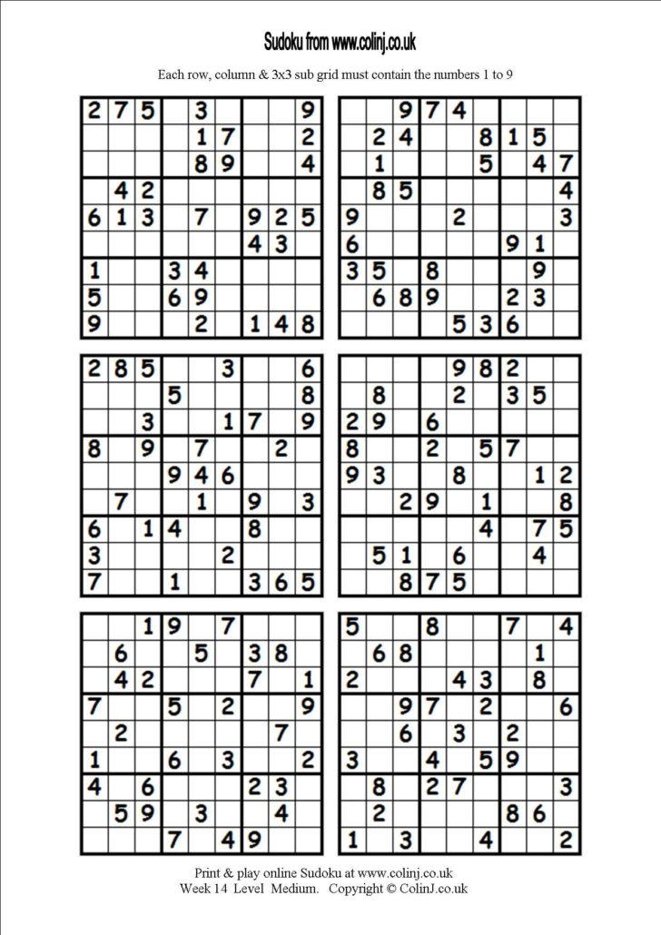 Printable Sudoku 4 Per Page