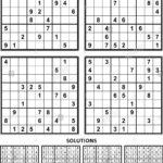 Printable Sudoku 4 Per Page With Answers Sudoku Printable