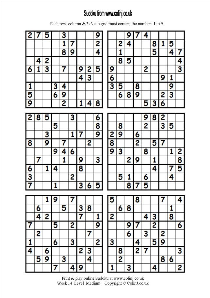 Printable Sudoku 6 Per Page Easy Printable Card Template