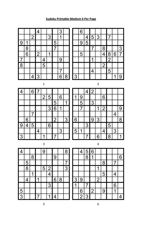 Free Printable Sudoku 6 To A Page