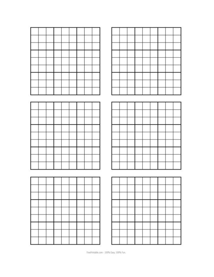 Printable Blank Sudoku Puzzle Grids