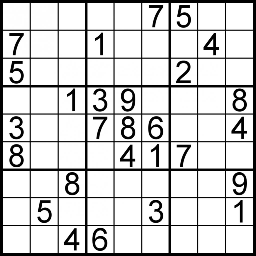 Printable Sudoku Puzzle Site Printable Crossword Puzzles