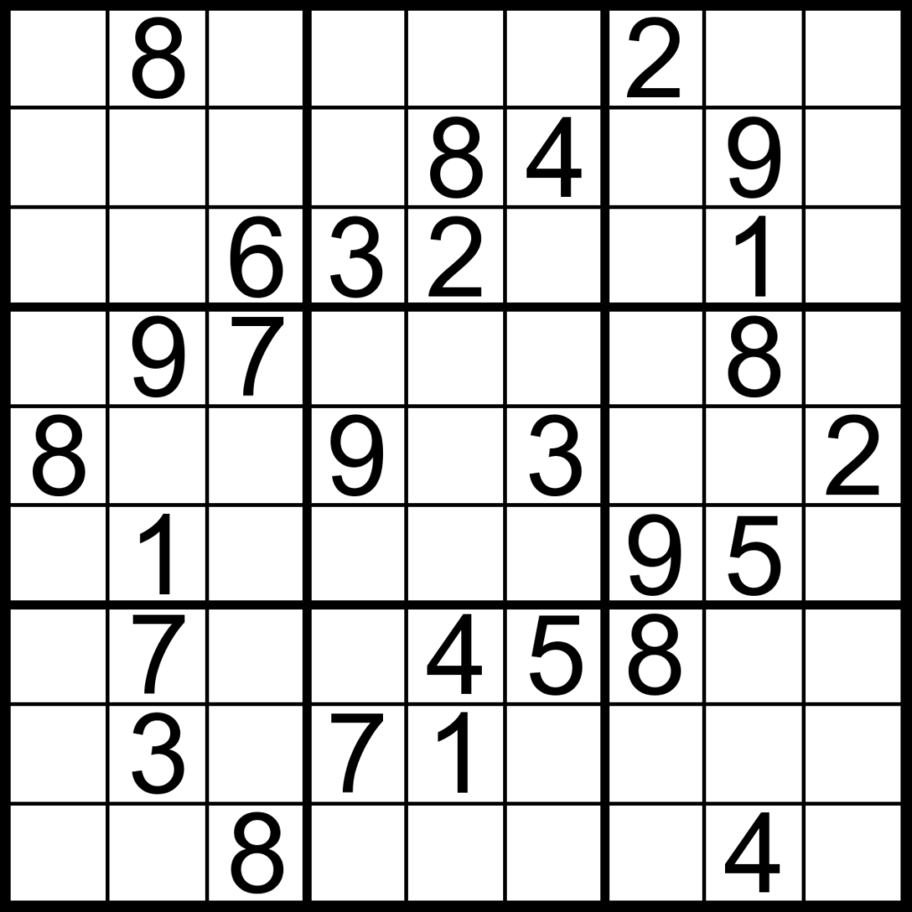 Printable Sudoku Puzzles 3X3 Printable Crossword Puzzles