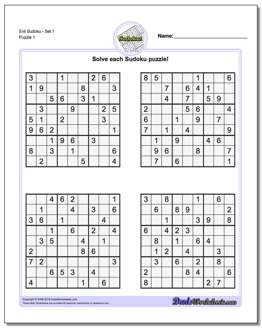 Printable Sudoku Sheets