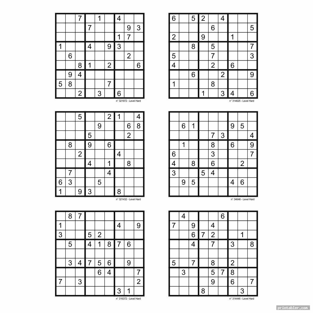 Printable Sudoku Puzzles 6 Per Page