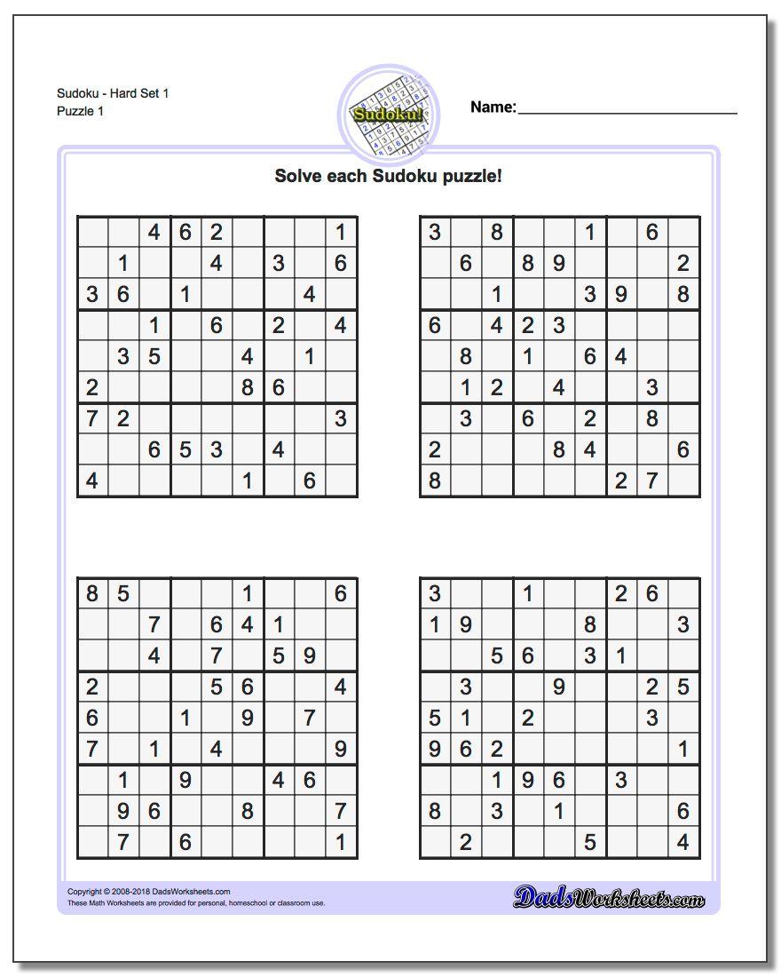 Hard Sudoku Printable Sheets