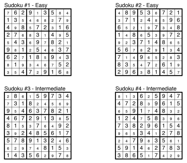 Free Printable Sudoku Puzzles With Solutions
