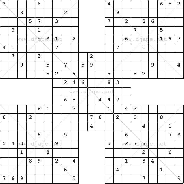 Samurai Sudoku Puzzles Printable