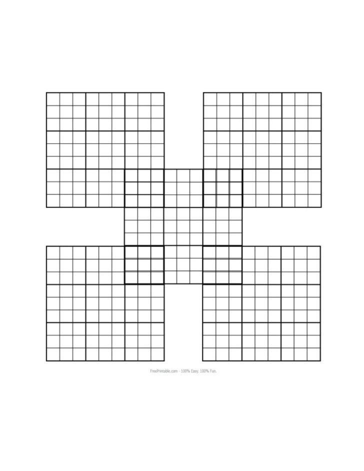 Samurai Sudoku Printable Blank
