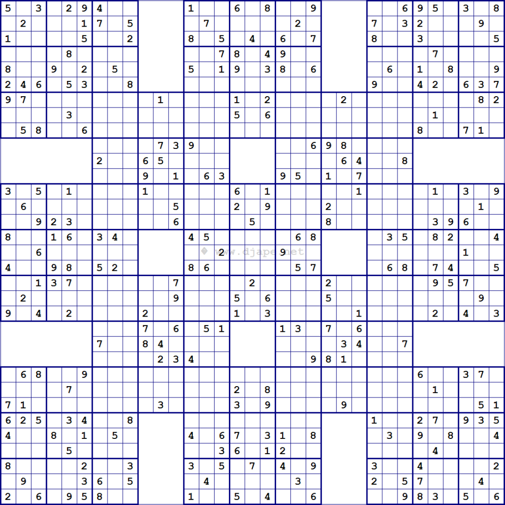 Samurai Sudoku Printable Printable Template Free