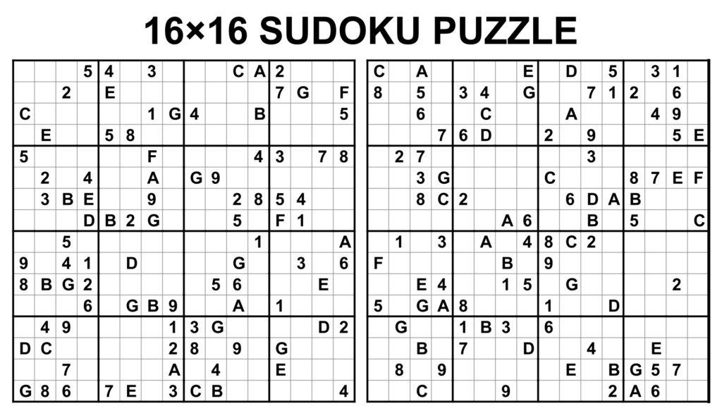 Sudoku 16 X 16 Para Imprimir Sudokus 16x16 Para Imprimir