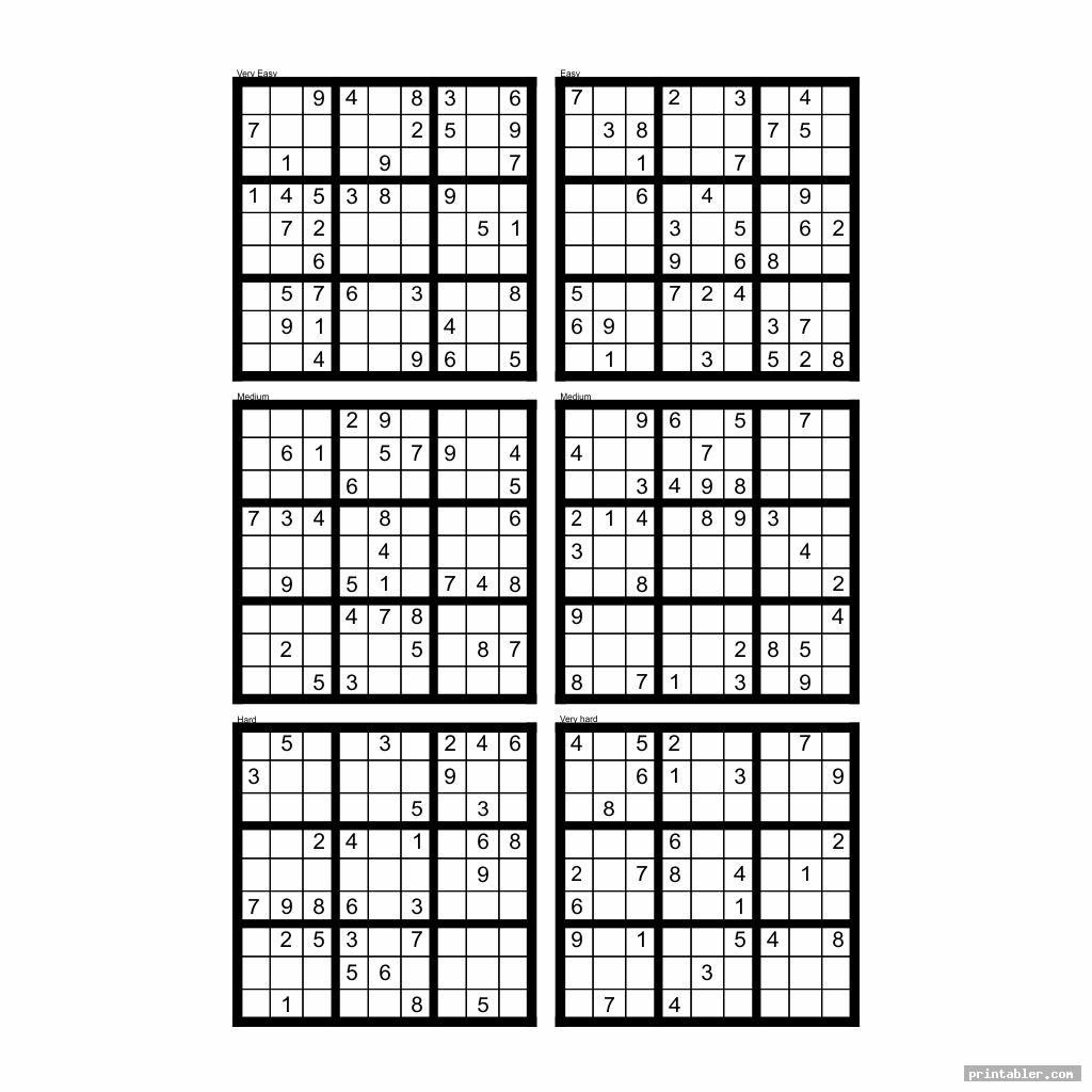 Free Printable Hard Sudoku 4 Per Page