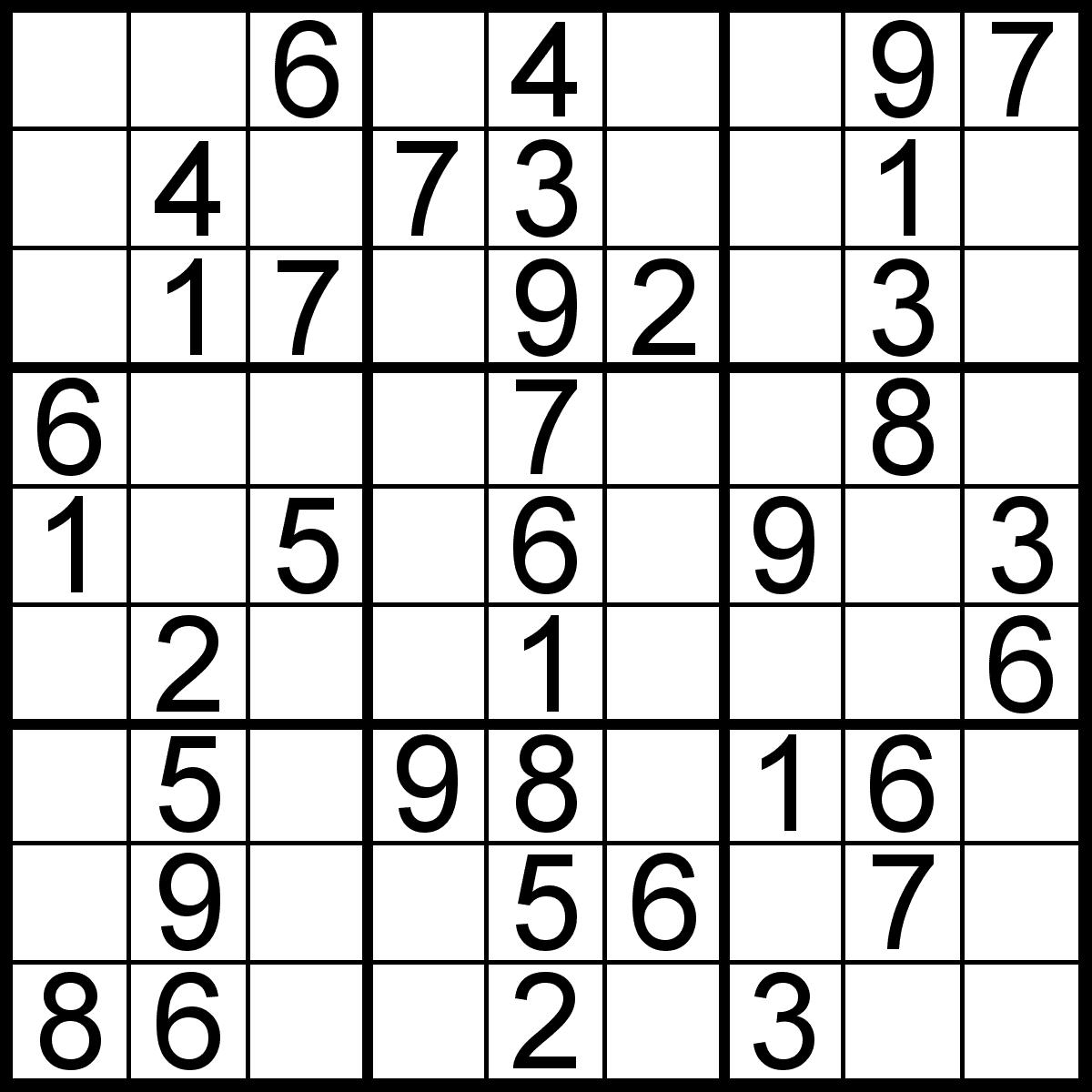 Easy Large Print Sudoku Printable
