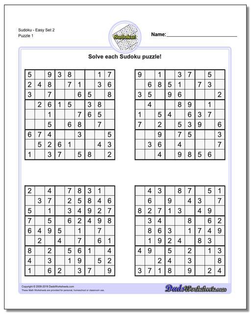 Printable Sudoku Puzzles Easy 2